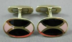 Antique Large 14kt Yellow Gold Oval Black And Pink Enamel Cuff Links 21207