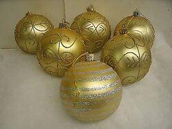 Lot Of 6 Large 3.5 Gold Glitter Christmas Ornaments Decorations - Shatterproof