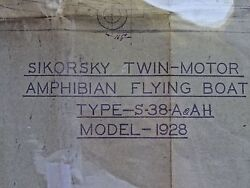 Original Circa 1928 Sikorsky S-38a Flying Boat Blueprint, Us Army Only 11 Made