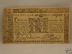 Fine 241 Yr Old Colonial Currency Note 1 April 10 1774 - Annapolis Maryland