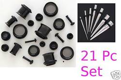 24pc Titanium Ear Stretching Kit Tapers + Tunnels 0g-14g Gauges Plugs Black