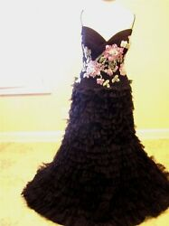 Nwt 1299 Rina Di Montella Lux Evening Embroidered Dress Ball Gown Black/pink 14