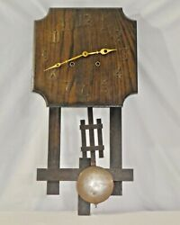 Antique Oak Arts + Crafts Wall Clock By National Clock And Mfg Co Chicago. Works.