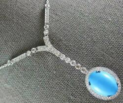 Antique 8.95ct Diamond And Aaa Turquoise 14k White Gold Oval Lariat Necklace 2555