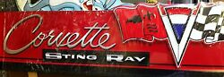 Corvette Sting Ray Chevrolet Large Embossed Official Gm 3d Emblem Metal. New
