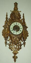 Antique French Gothic Bronze Cartel Cathedral Large 26 Wall Clock Heavy