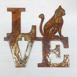 6quot; LOVE Square Sitting Cat for O Rusty Metal Wall Art Craft Stencil Sign DIY