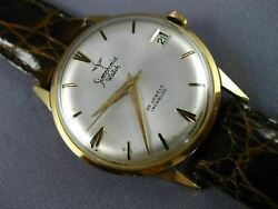 Antique Large Simphonie 18k Yellow Gold 3d Classic Round Swiss Menand039s Watch 2493