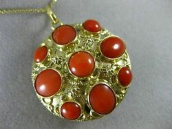 Antique Large Aaa Coral 18kt Yellow Gold Double Sided Filigree Pendant 16494