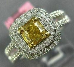 Estate Wide .91ct White And Fancy Yellow Diamond 18kt 2 Tone Gold Double Halo Ring