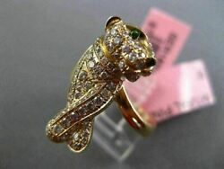 Estate Large .76ct Diamond And Aaa Tsavsorite 18kt Rose Gold Happy Puppy Fun Ring