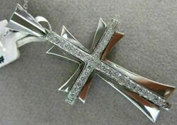 Estate Large .46ct Diamond 14kt White Gold 3d Handcrafted Cross Pendant 19403