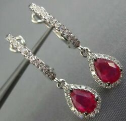 Estate 1.27ct Diamond And Aaa Ruby 14kt White Gold Tear Drop Halo Hanging Earrings