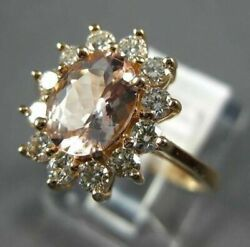 Estate 1.75ct Diamond And Aaa Morganite 14kt Rose Gold 3d Oval Flower Love Ring