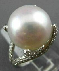 Estate Large .90ct Diamond And Aaa South Sea Pearl 18kt White Gold Engagement Ring
