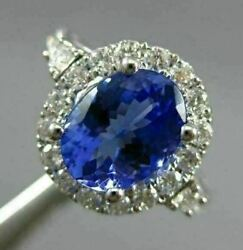 Estate Large 2.85ct Diamond And Aaa Tanzanite 18kt White Gold Halo Engagement Ring