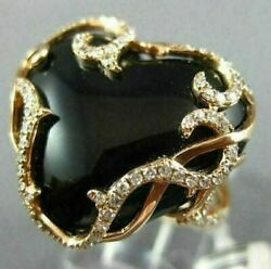 Estate Large .36ct Diamond And Onyx 14k Rose Gold 3d Open Filigree Heart Love Ring