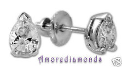 1.5 Ct I Si1 Natural Pear Shape Diamond Solitaire Stud Earrings 18k White Gold