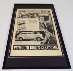1937 Plymouth Cars Framed 11x17 Original Vintage Advertising Poster