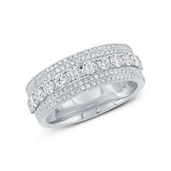 Womens 1.18 Ct 14k White Gold Natural Round Cut Diamond Pave Band Cocktail Ring