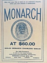 Vintage 1898 Monarch Cycle Mfg. Co. Catalogue Cover Page And Ads - Ivory Soap Etc.
