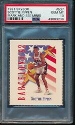 Psa 10 Scottie Pippen 1991-92 Skybox Mark And See Minis Olympic Team Usa Gem Mint