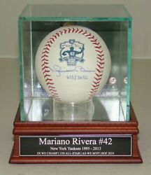 Autographed Mariano Rivera Signed 602 Saves Baseball in Hall of Fame Display HOF