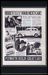 1937 Plymouth Builds Great Cars Framed 11x17 Original Vintage Advertising Poster