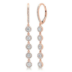 0.98ct 14k Rose Gold Natural Round Cut Diamond Halo Cluster Dangle Drop Earrings