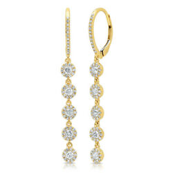 0.98 Ct 14k Yellow Gold Natural Round Diamond Halo Cluster Dangle Drop Earrings