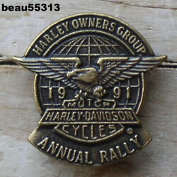 Harley Davidson Owners Group Hog 1991 Annual Rally Vest Jacket Hat Pin Pins