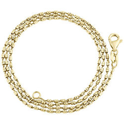 10k Yellow Gold 1mm Tube Brite Diamond Cut Bead Chain Italy Necklace 16-24 Inch