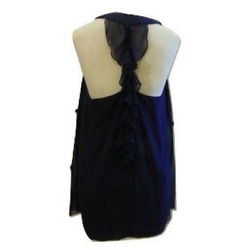 Badgley Mischka Collection silk evening occasion top T back blue Sz M $495