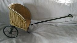 Victorian Antique Wicker Doll Carriage Childs Pull Toy 1880's Hard Rubber Tires
