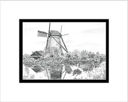 Kinderdijk Windmill Pen And Ink Matted Print Note Card Holland Netherlands