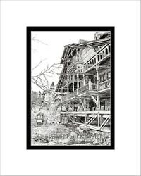 Mohonk Mountain House Print Note Card Pen And Ink Matted