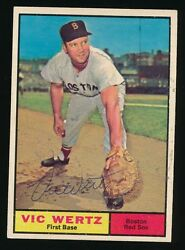1961 Topps 340 Vic Wertz Boston Red Sox D.1983 Autographed Rare