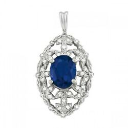 New 14k White Gold Antique Style Diamond And Blue Sapphire Oval Pendant Necklace
