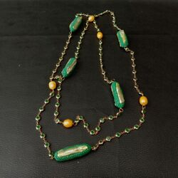 52 Cultured Gold Rice Pearl Green Biwa Pearl Cz Pave Chain Long Necklace