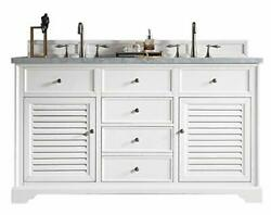 James Martin Savannah 60 Cottage White Double Vanity With 3 Cm Shadow Gray Q...