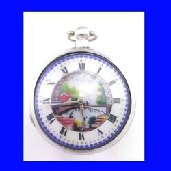 Napoleonic Silver Fusee Verge Polychrome Enamel Pair Case Pocket Watch 1811