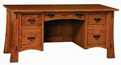 Amish Arts And Crafts Mission Writing File Desk 66w Solid Wood Hanging Files