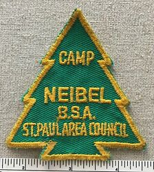 Vintage Camp Neibel Boy Scout Tree Shaped Patch Ce Twill St. Paul Area Council