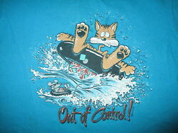 vtg 80s OUT OF CONTROL CAT & MOUSE T SHIRT Tubing Lake Life Summer Beach LARGE