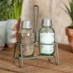 Henderson Mason Jar Salt And Pepper Shakers With Caddy / Carrier Farmhouse Kitchen