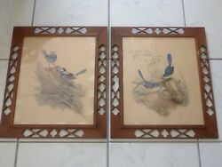 Antique Pair Bird Prints With Interesting Perforated Frames Made Of Wood Ooak