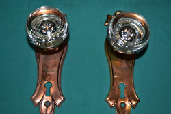 One Set Of Brass And Glass Door Knobs East Lake, Antique Architectural 83
