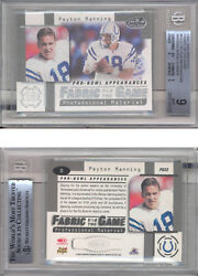 1999 Leaf Certifield Fabric Of The Game Fg22 Peyton Manning/1000 Bgs 9 Mint