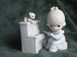 Precious Moments Musical Porcelain Retired Figurines Girl Playing Piano