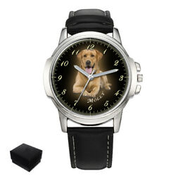 Personalised Custom Mens Wrist Watch Your Photo Pets Dogs Anniversary Best Gift
